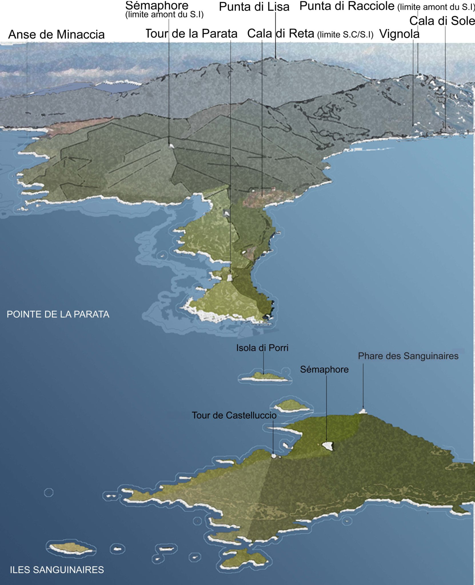 Carte Corse Ile Sanguinaire.L Esprit Des Lieux Iles Sanguinaires Pointe De La Parata